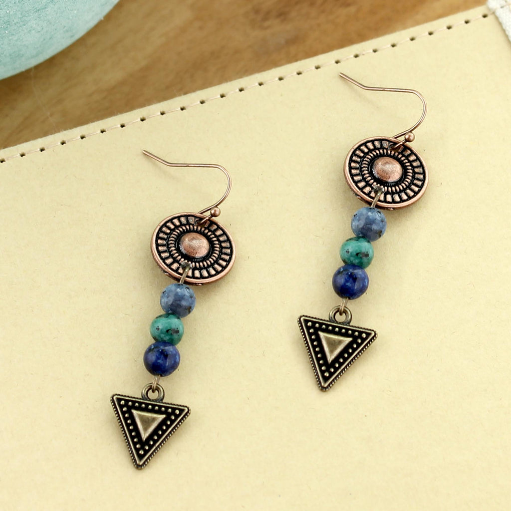 Stone Bead & Mixed Metal Geometric Earrings