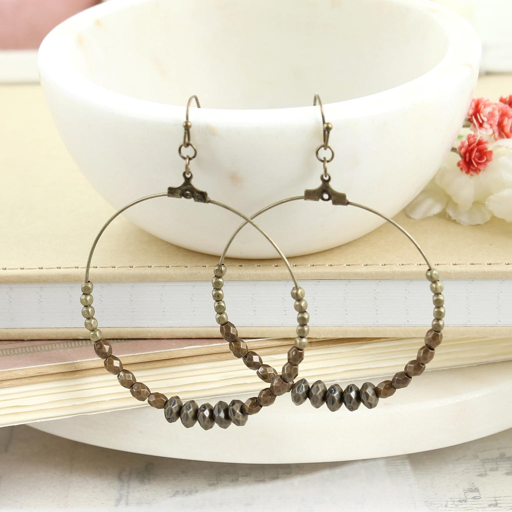 Vintage Beaded Hoop Earrings