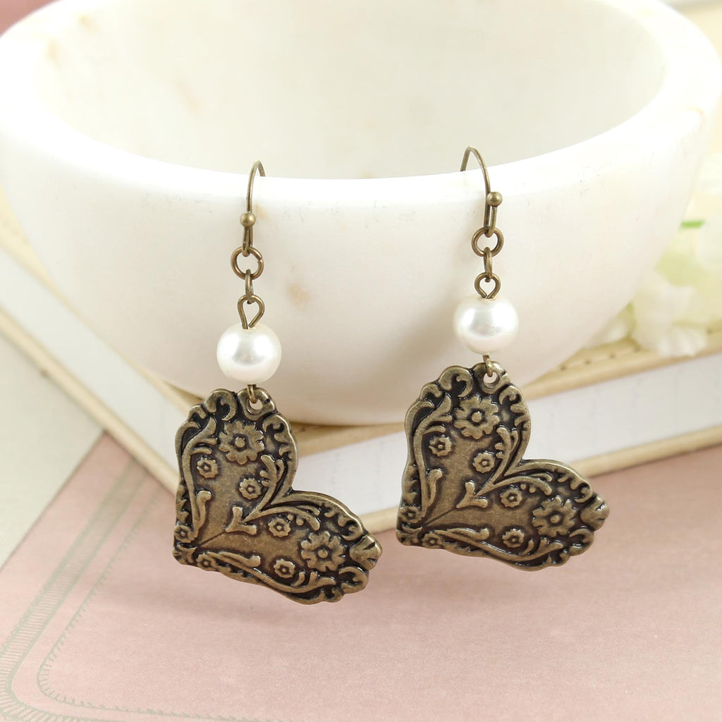 Vintage Style Heart & Pearl Earrings