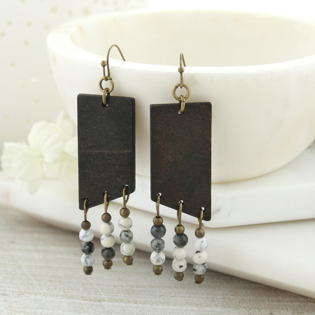 Dark Wood & Gray Stone Bead Earrings