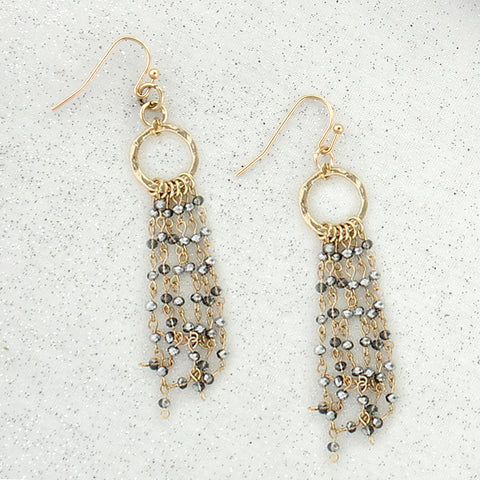 Gold & Gray Crystal Waterfall Earrings
