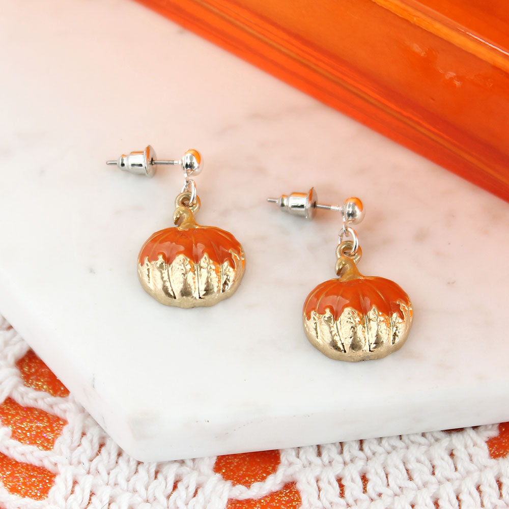 Gold Dipped Pumpkin Earrings