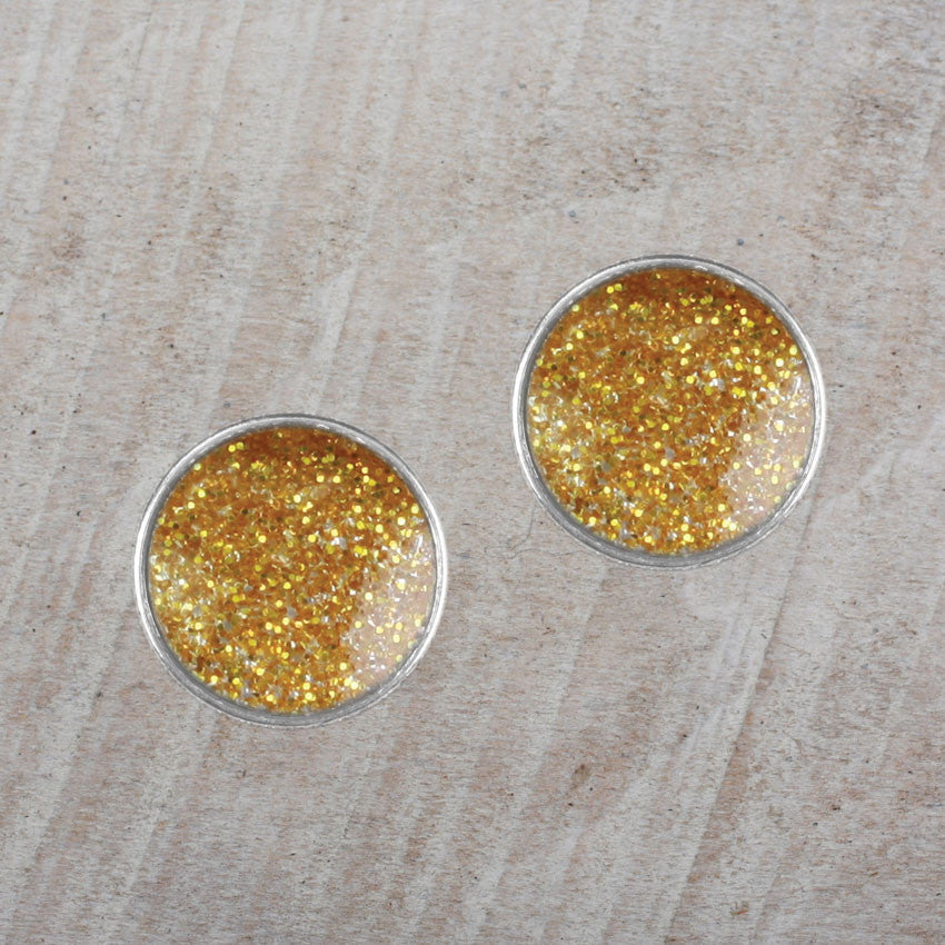 Seasons Jewelry Gold Glitter Stud Earrings