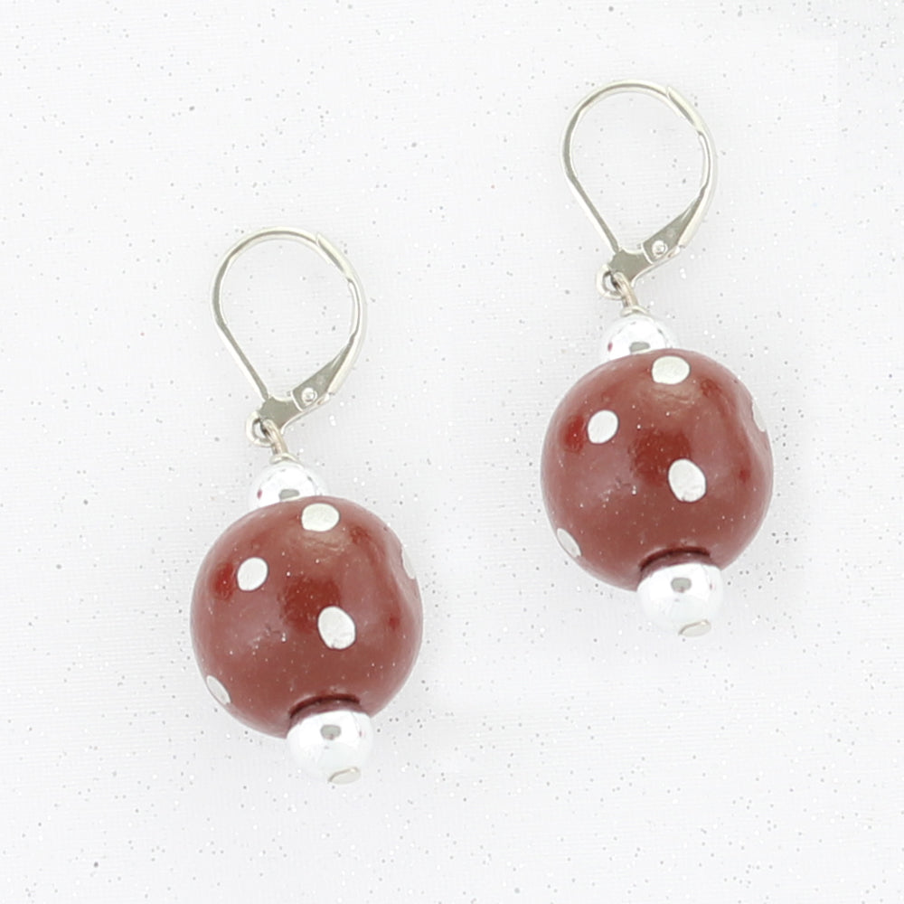 Maroon & Gray Polka Dot Wood Bead Earrings