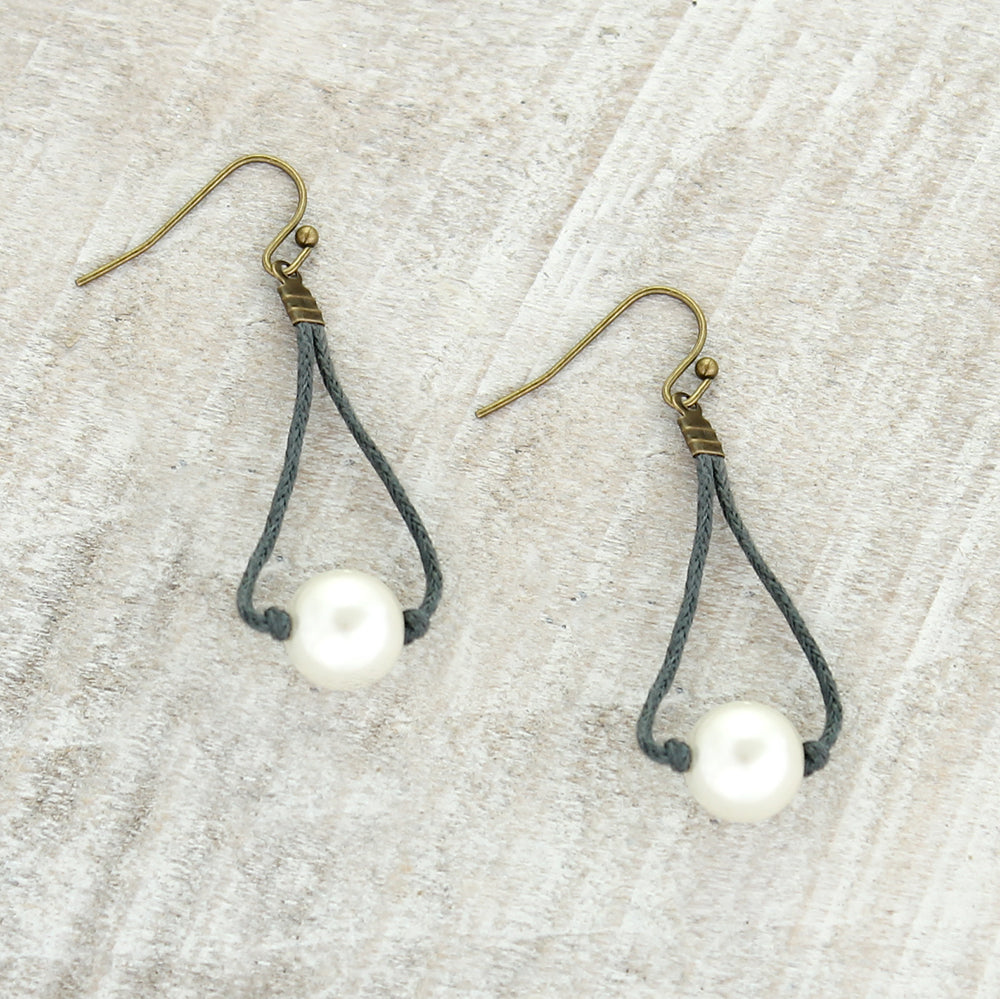Dark Gray Cord & Pearl Earrings
