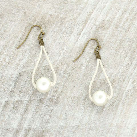Ivory Cord & Pearl Earrings