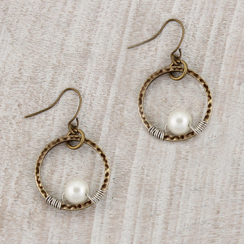 Circle Pearl Earrings
