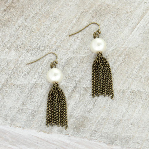 Pearl w/ Vintage Style Tassel Earrings