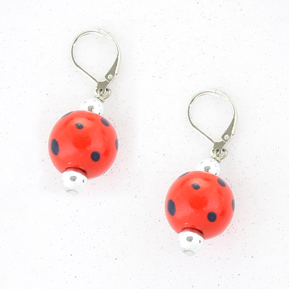 Red & Blue Polka Dot Wood Bead Earrings