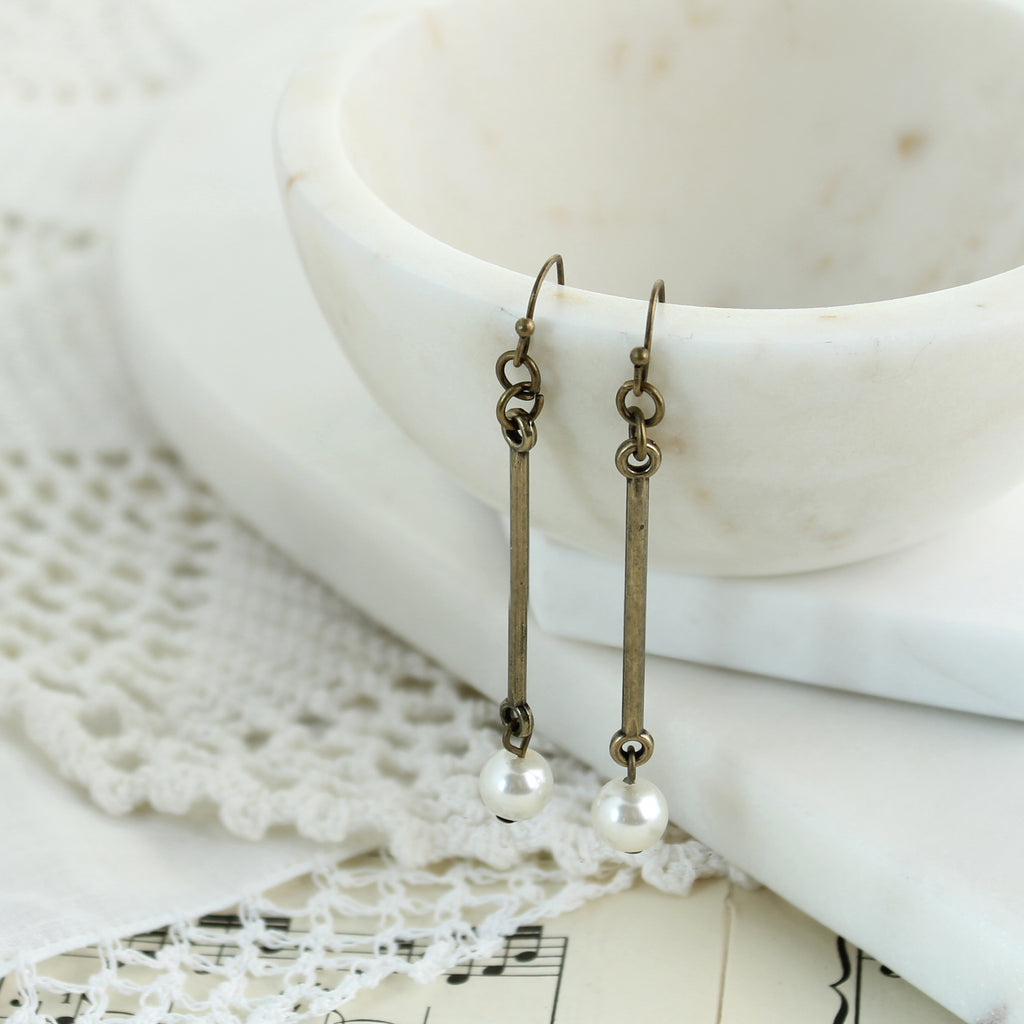 Vintage Style Bar & Pearl Drop Earrings