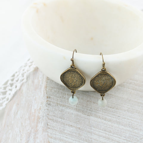 Vintage Style Coin & Stone Earrings