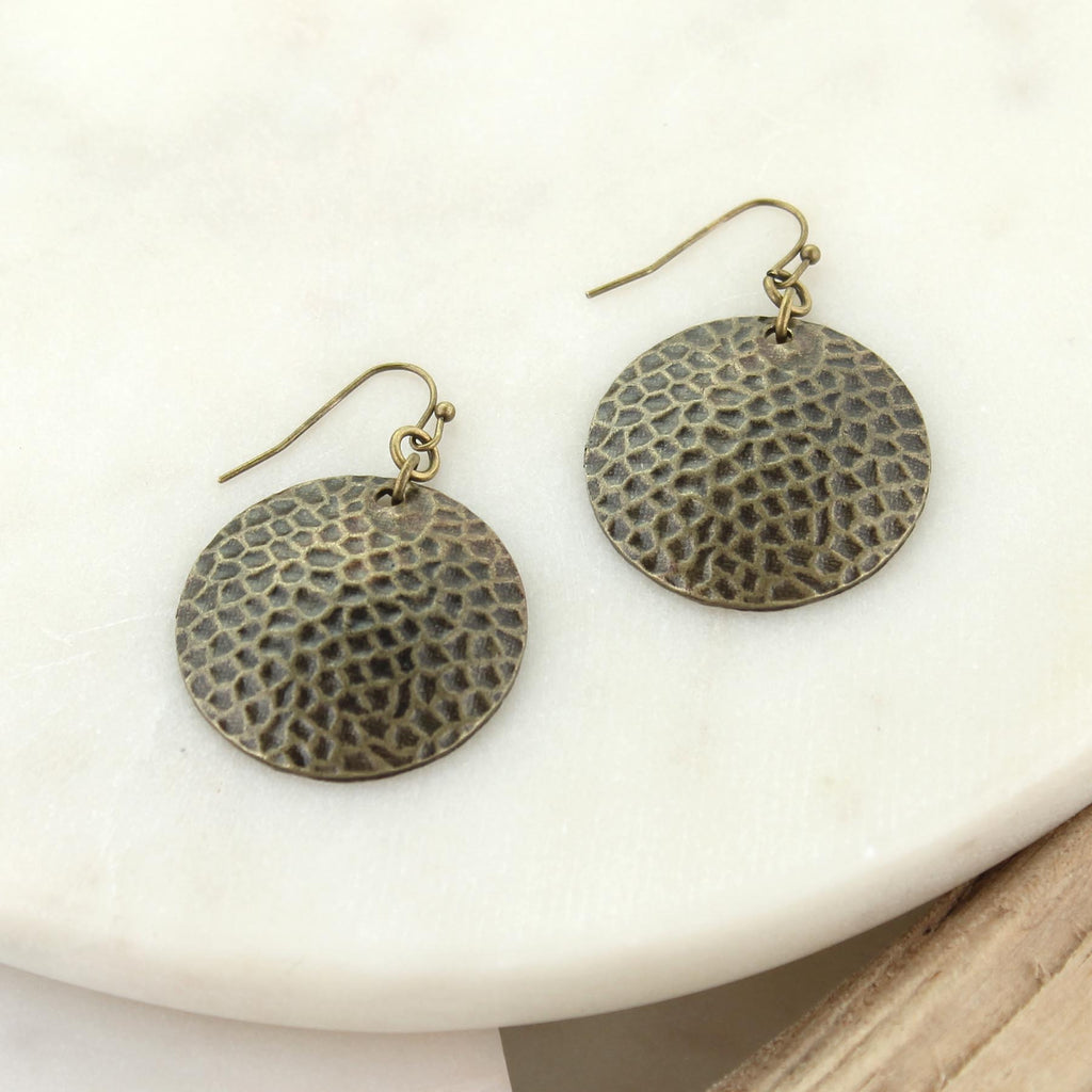 Vintage Style Hammered Disc Earrings