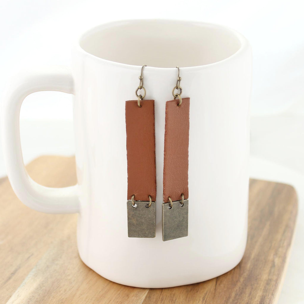 Cognac Leather & Vintage Style Earrings