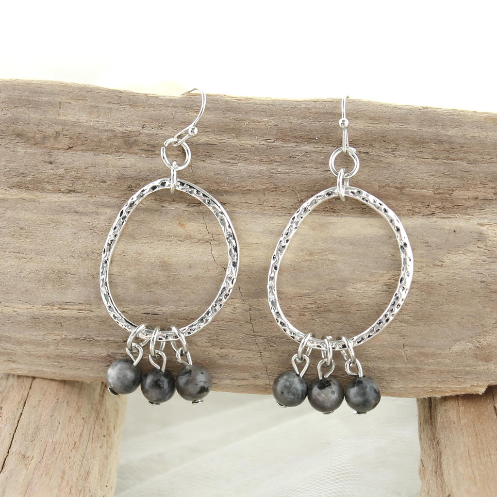 Antique Silver Oval Earrings w/ Dark Gray Stone Beads