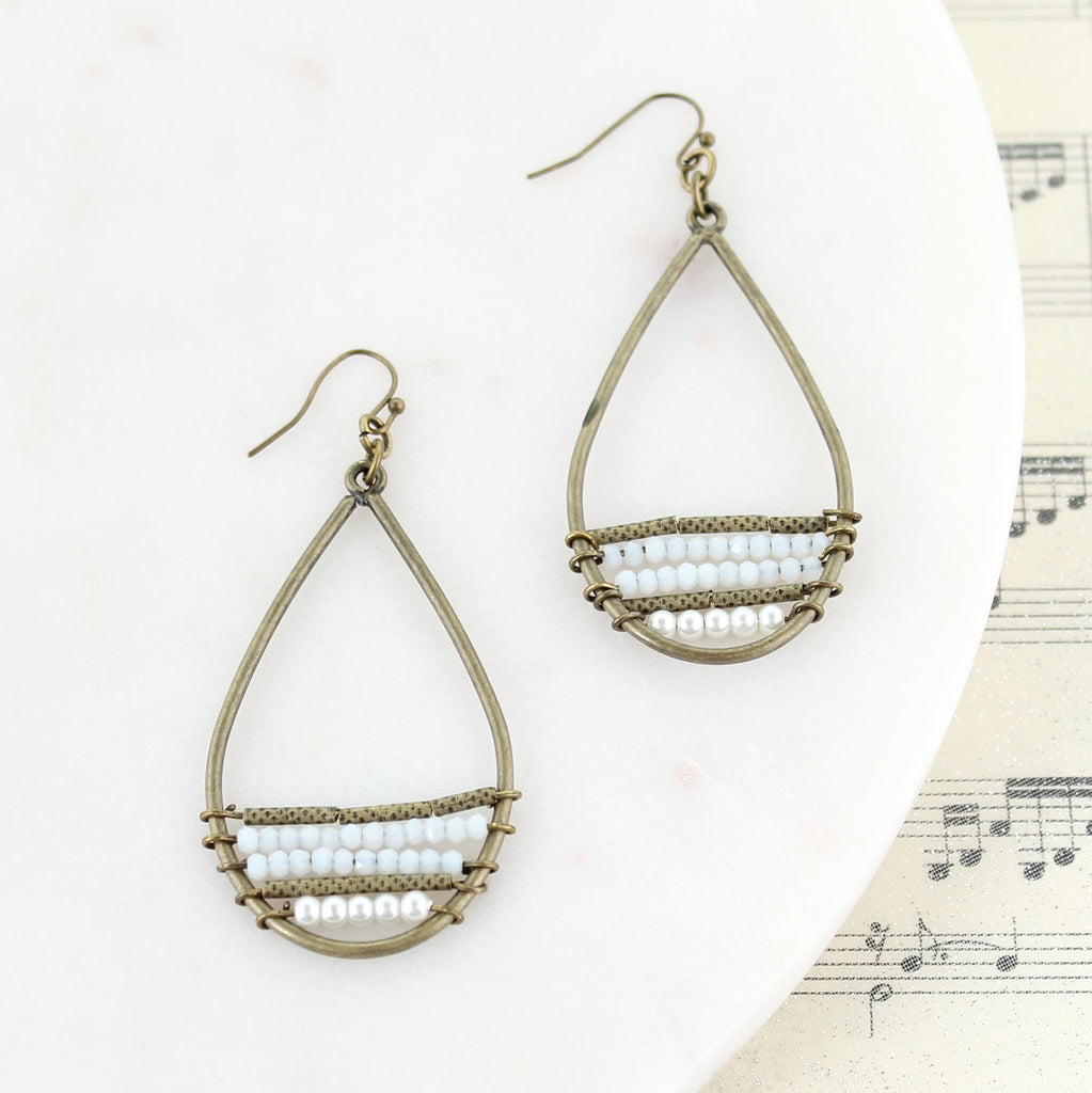 Vintage Teardrop Earrings w/ Seed Beads