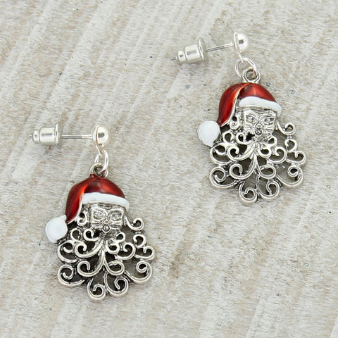 Curly Beard Santa Earrings