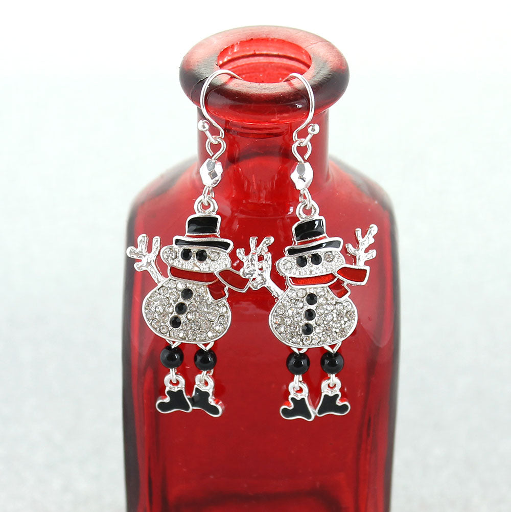Crystal Snowman Earrings