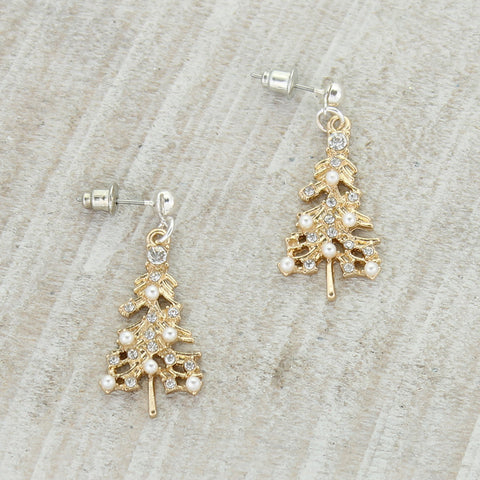 Gold & Pearl Tree Earrings
