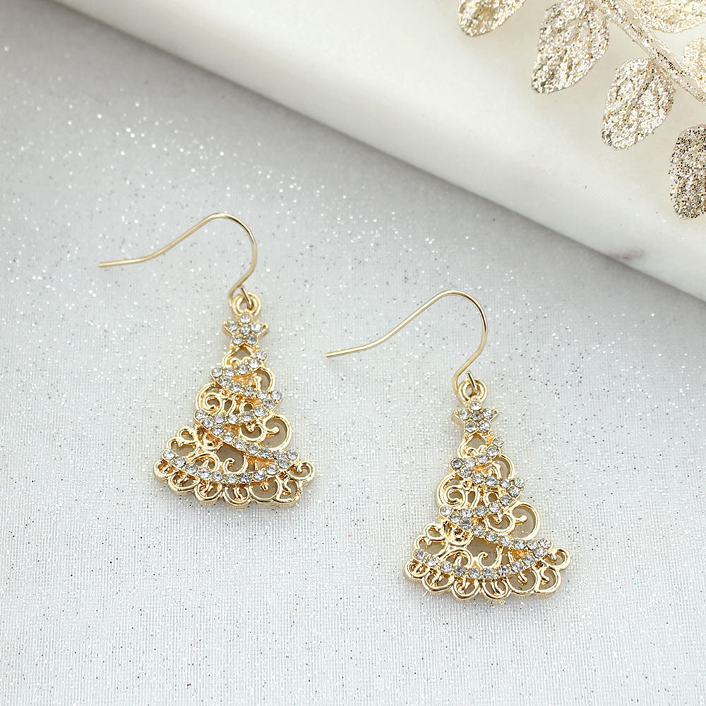 Gold & Crystal Tree Earrings