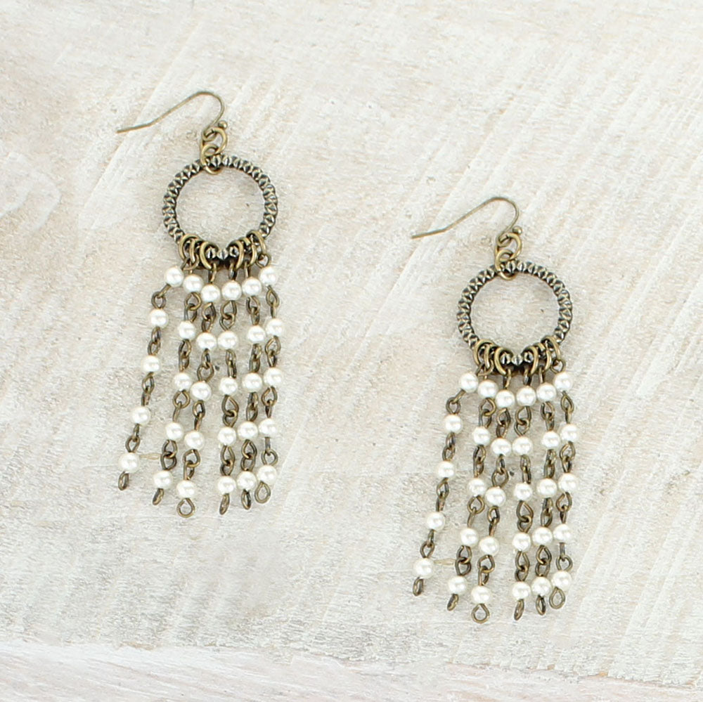 Vintage Style Pearl Waterfall Earrings