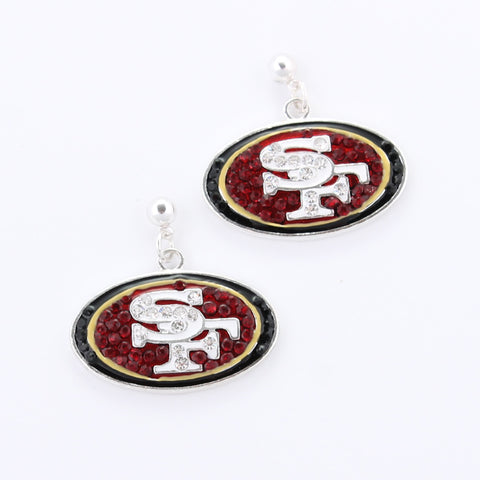 San Francisco 49ers Crystal Logo Earrings
