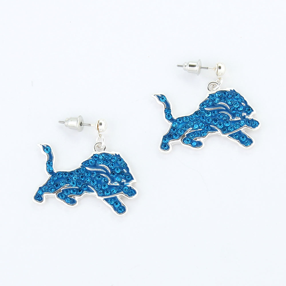 Detroit Lions Crystal Logo Earrings