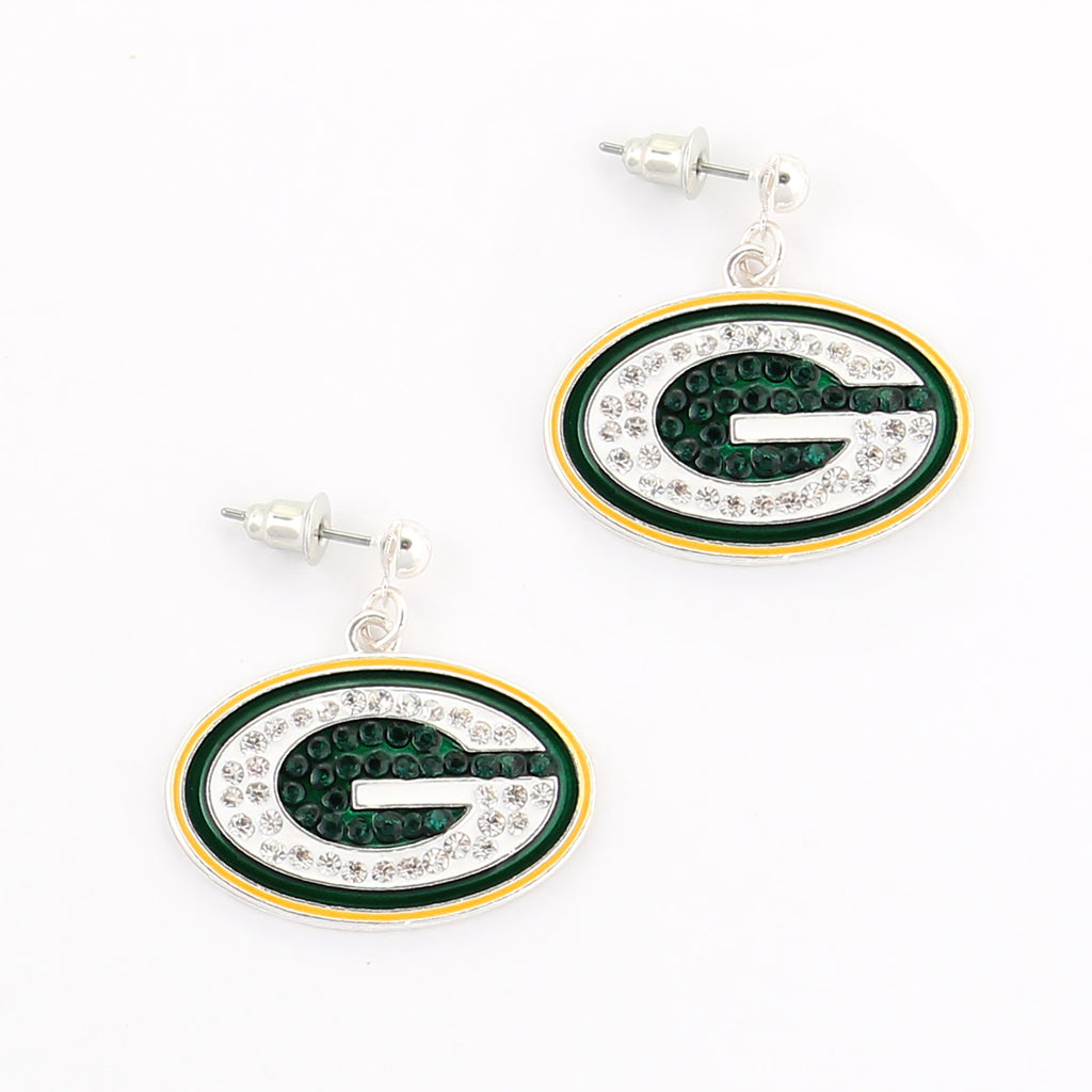 Green Bay Packers Crystal Logo Earrings