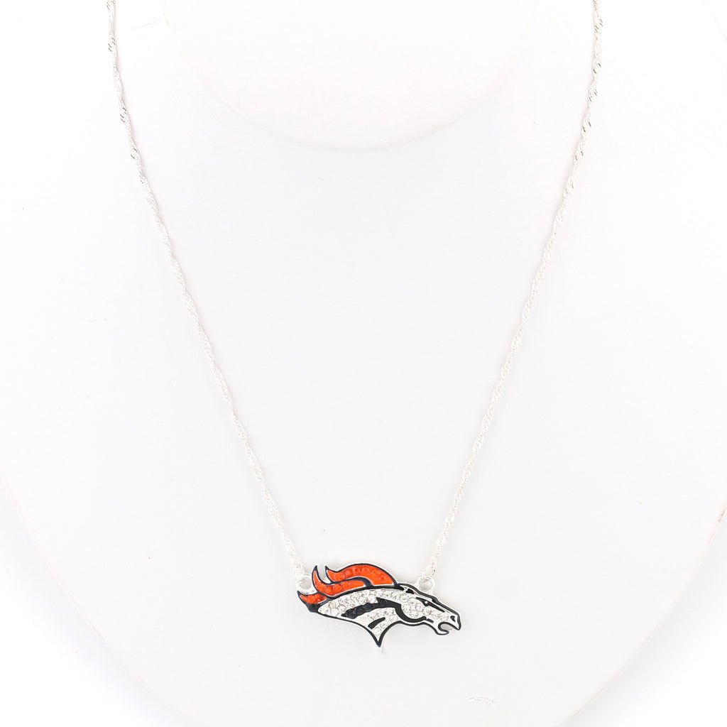Denver Broncos Crystal Logo Necklace