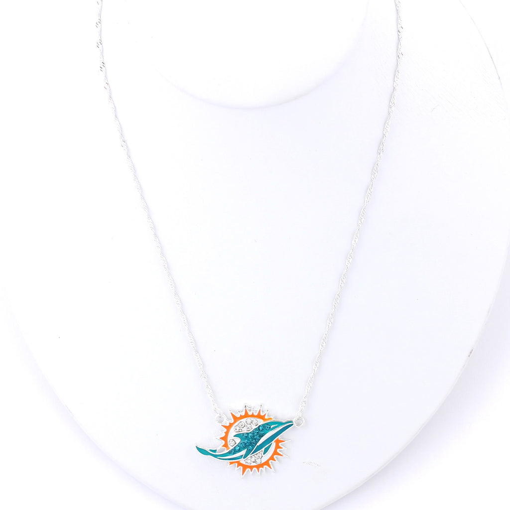 Miami Dolphins Crystal Logo Necklace