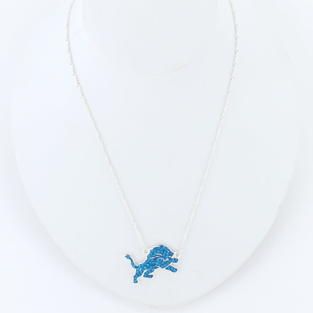 Detroit Lions Crystal Logo Necklace