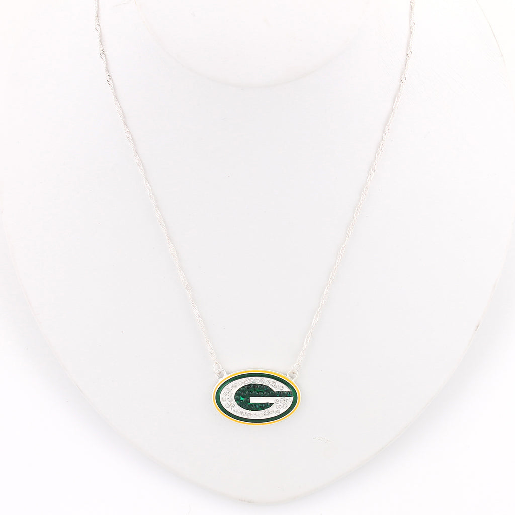 Green Bay Packers Crystal Logo Necklace
