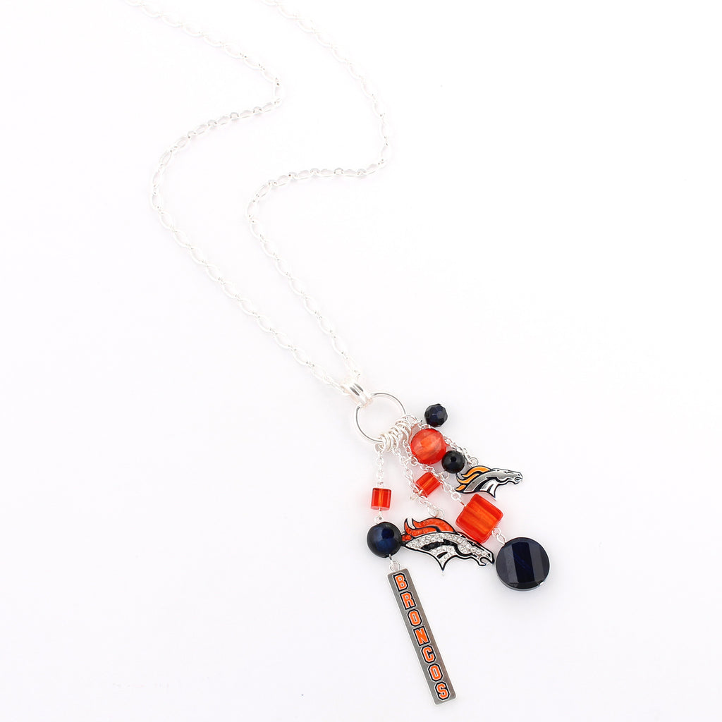 Denver Broncos Cluster Necklace