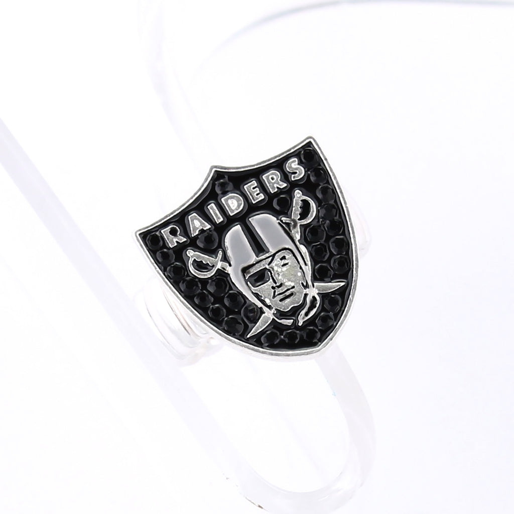 Oakland Raiders Crystal Logo Stretch Ring