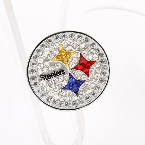 Pittsburgh Steelers Crystal Logo Stretch Ring