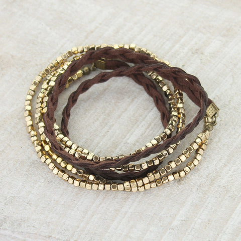 Braided Leather & Gold Stretch Bead 50