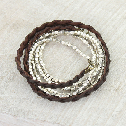 Braided Leather & Silver Stetch Bead 50