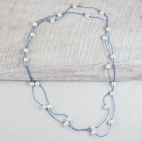 "Pearl and Blue Cord 60"" Gameday Necklace"