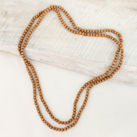 "64"" Brown Wood Bead Necklace"