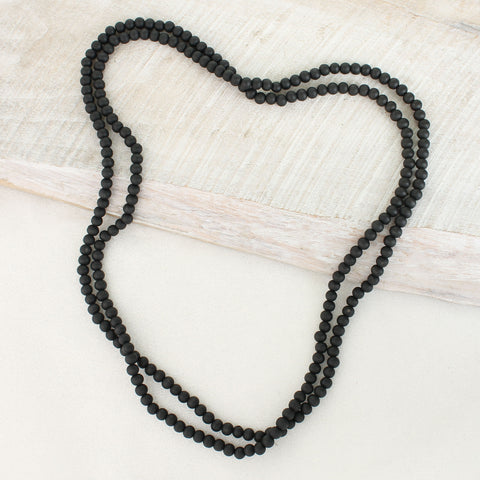 "64"" Black Wood Bead Necklace"