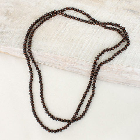 64Ó Dark Brown Wood Bead Necklace