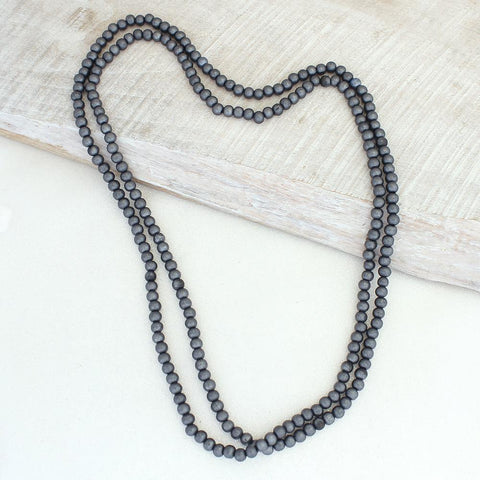 Dark Gray Wood Bead Necklace