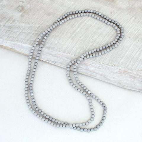 Light Gray Wood Bead Necklace