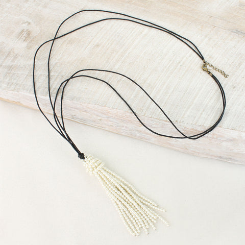 Pearl Tassel on Black Cord Necklace