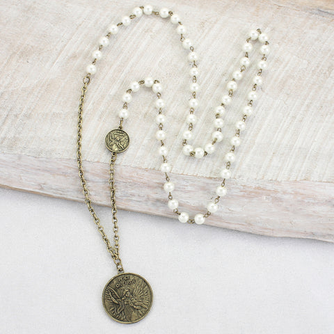 Angel Coin & Pearl Necklace
