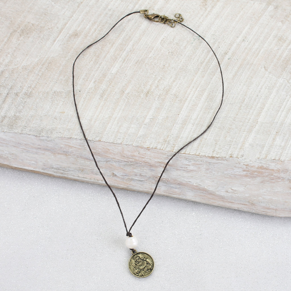 Santa Coin Cord Necklace