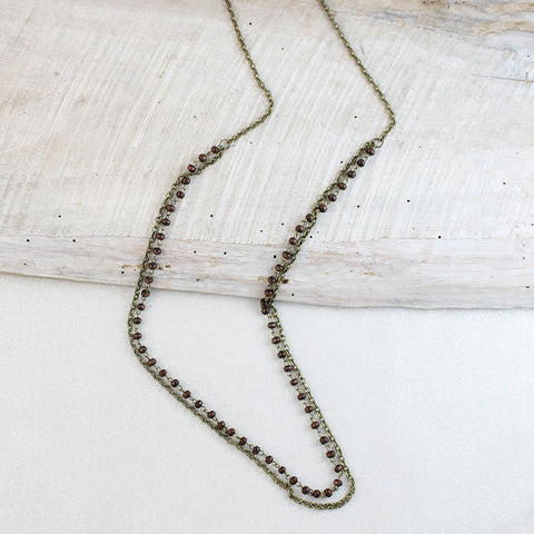 Vintage Chain & Wood Double Necklace