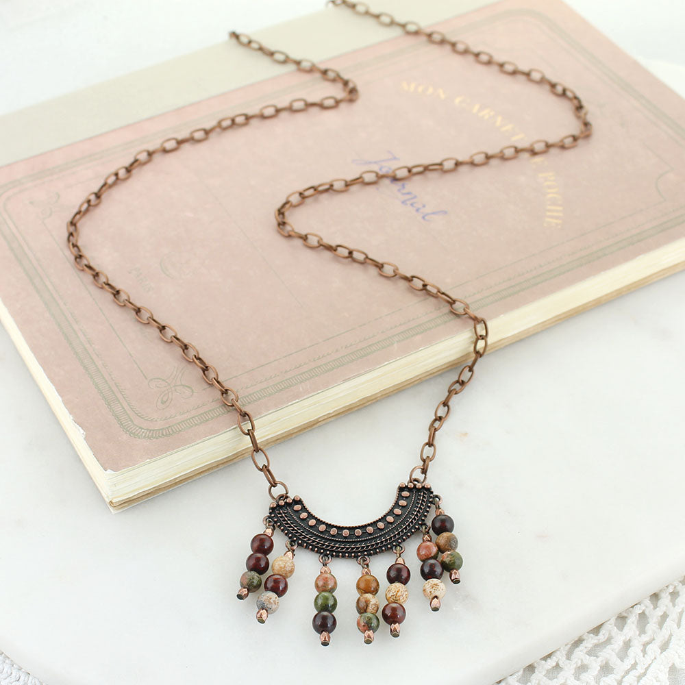 "36"" Copper Chain Necklace w/ Crescent & Stone Beads"