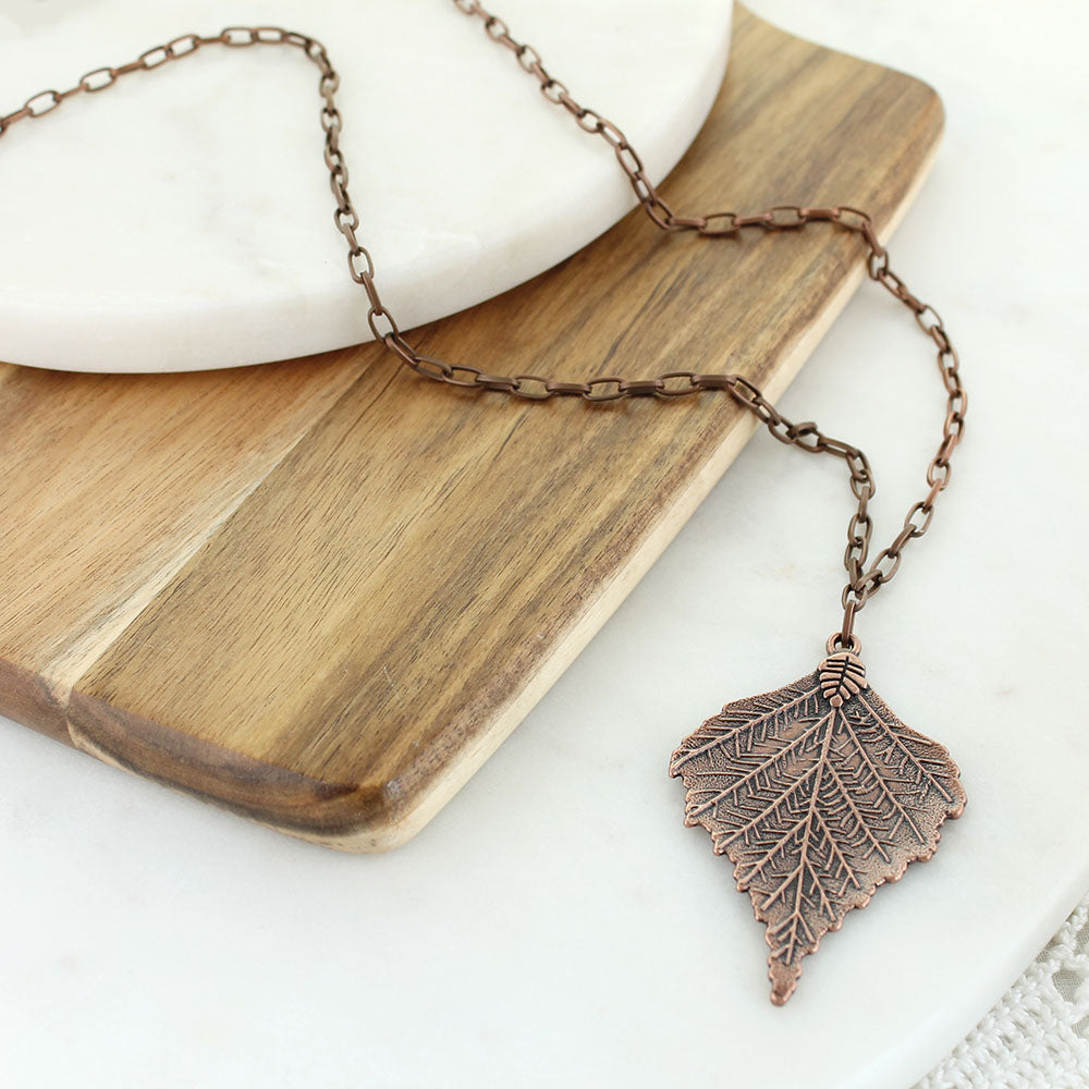 "34"" Copper Leaf Necklace"