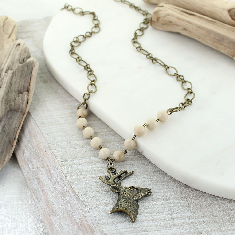 "37"" Vintage Style Deer & Natural Stone Necklace"