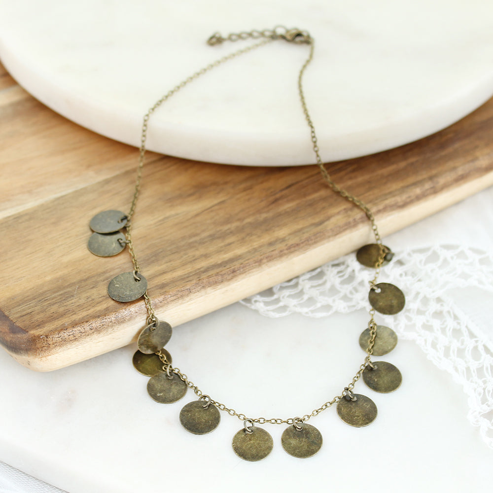 "16-18"" Vintage Style Disc Necklace"